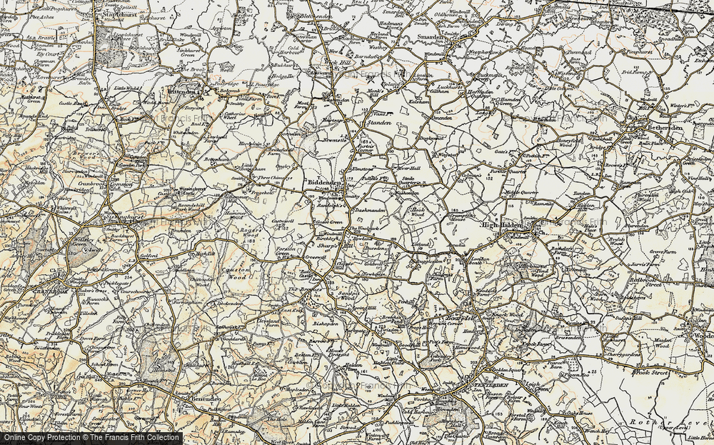Old Map of Historic Map covering Woodlands in 1897-1898