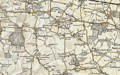 Old map of Woolpit Green in 1899-1901