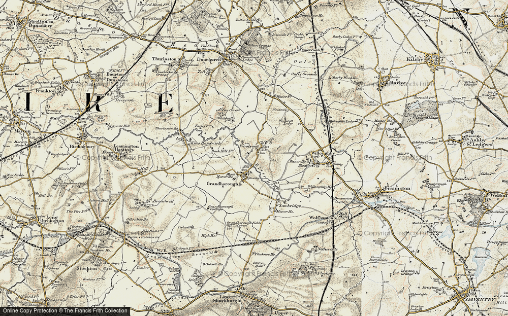 Old Map of Woolscott, 1901 in 1901