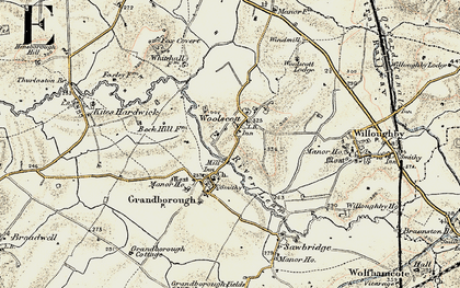 Old map of Woolscott in 1901