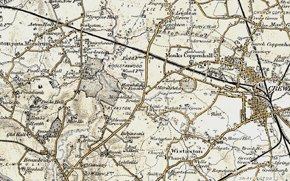 Old map of Woolstanwood in 1902-1903