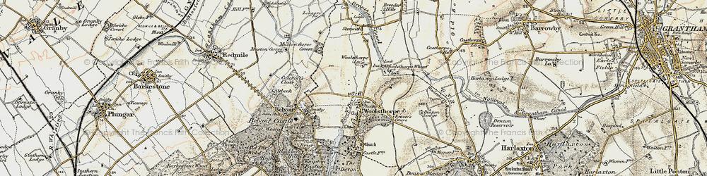 Old map of Woolsthorpe By Belvoir in 1902-1903