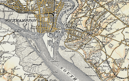 Old map of Woolston in 1897-1909