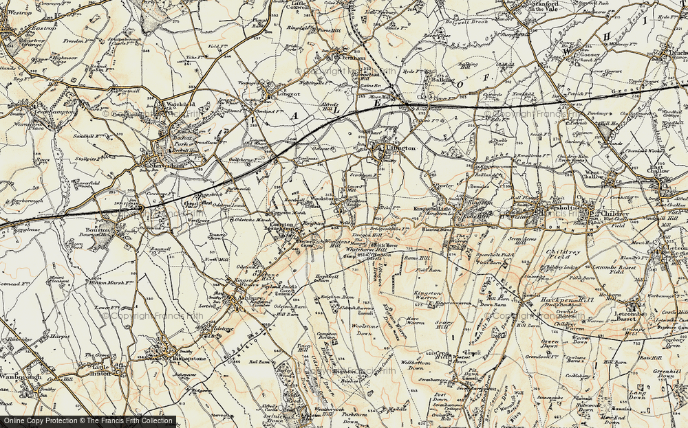 Old Map of Woolstone, 1898-1899 in 1898-1899