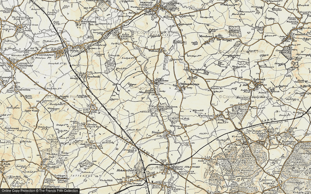 Old Map of Woolstone, 1898-1901 in 1898-1901