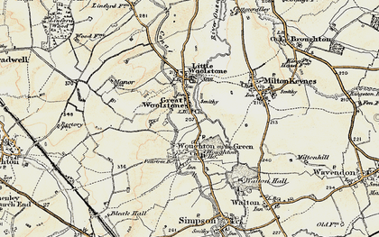 Old map of Woolstone in 1898-1901