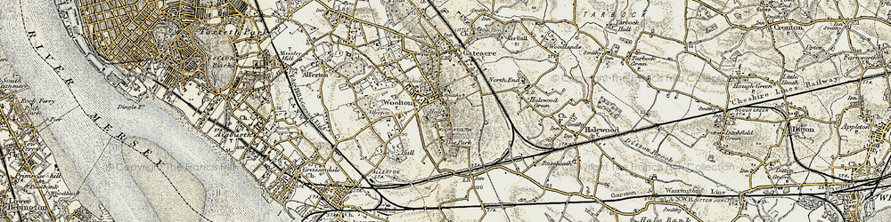 Old map of Woolton in 1902-1903