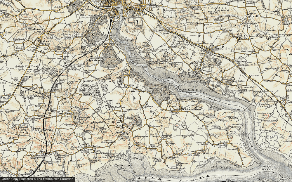 Old Map of Woolverstone, 1898-1901 in 1898-1901