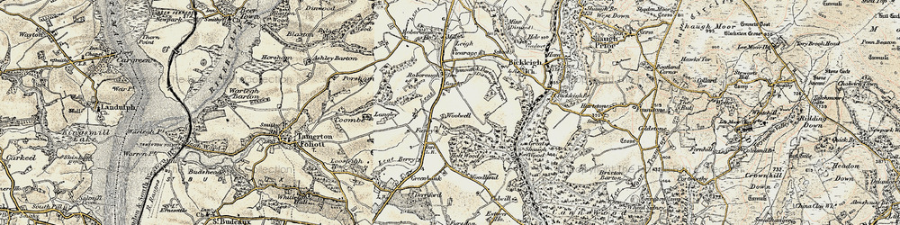 Old map of Woolwell in 1899-1900