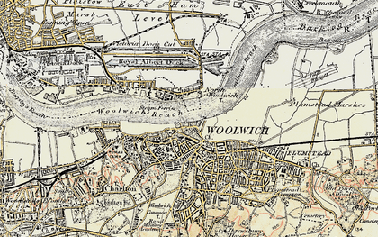 Old map of Woolwich in 1897-1902