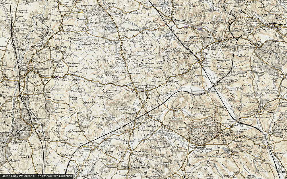 Old Map of Woore, 1902 in 1902