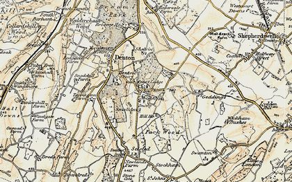 Old map of Wootton in 1898-1899