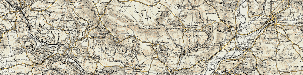 Old map of Wildhay in 1902
