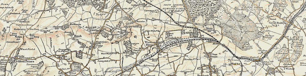 Old map of Wootton Rivers in 1897-1899