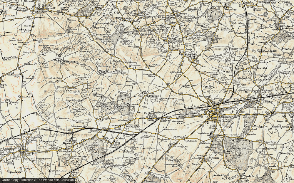 Old Map of Historic Map covering Worting Ho in 1897-1900