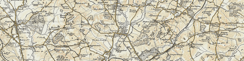 Old map of Wootton Pool in 1899-1902