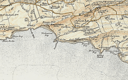 Old map of Worbarrow Bay in 1899-1909