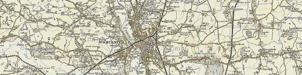 Old map of Worcester in 1899-1902