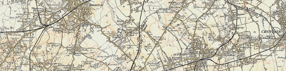 Old map of Worcester Park in 1897-1909