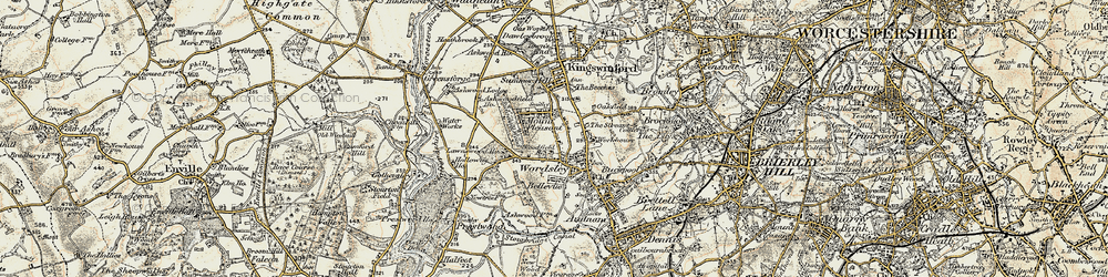 Old map of Wordsley in 1902