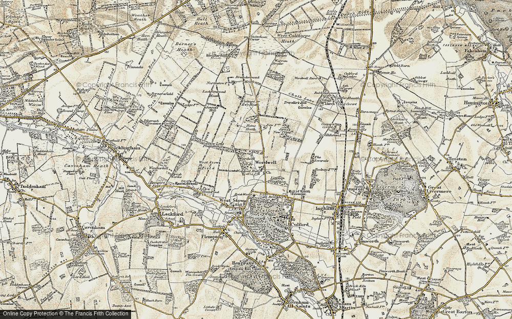 Old Map of Historic Map covering Wordwell Covert in 1901