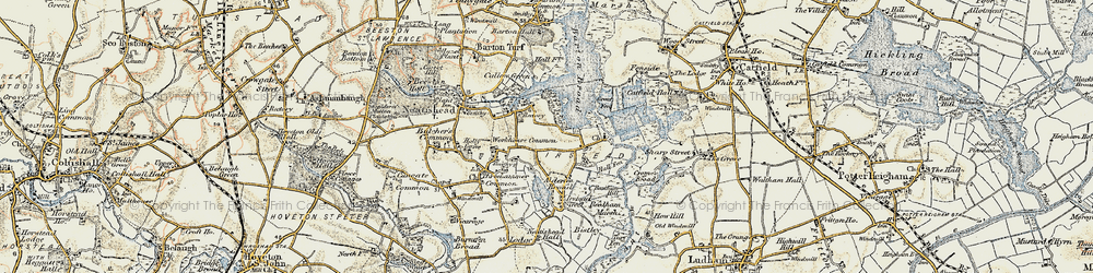 Old map of Workhouse Common in 1901-1902