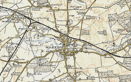 Old map of Worksop in 1902-1903
