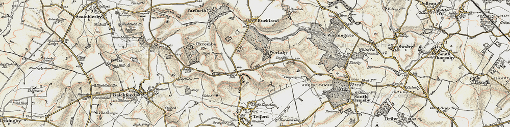 Old map of Worlaby in 1902-1903