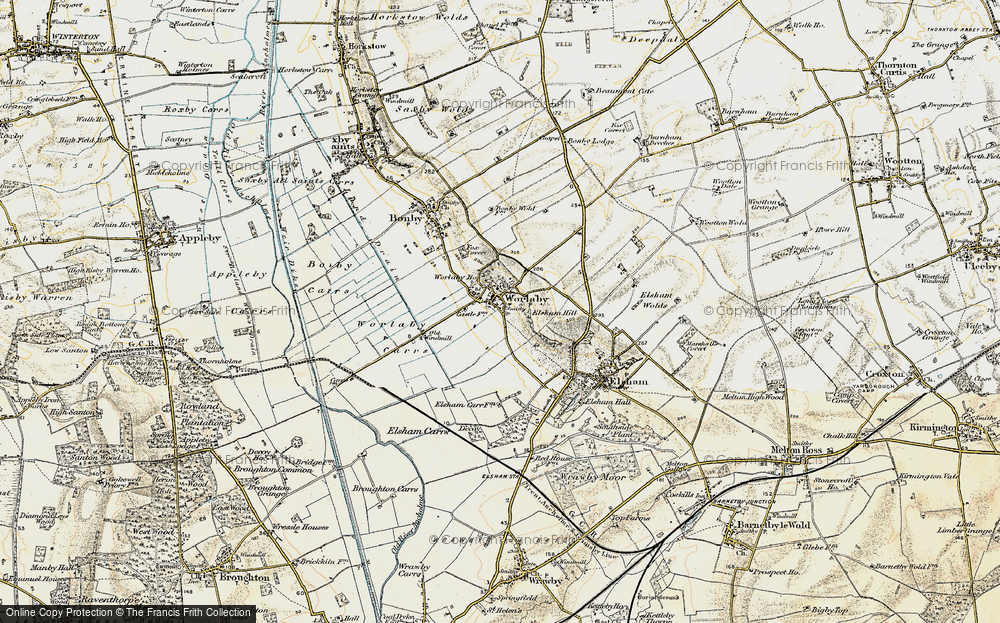 Old Map of Historic Map covering Worlaby Carrs in 1903-1908