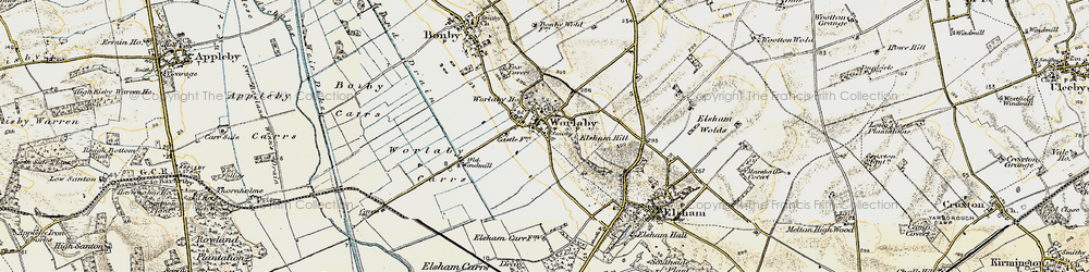 Old map of Worlaby Carrs in 1903-1908