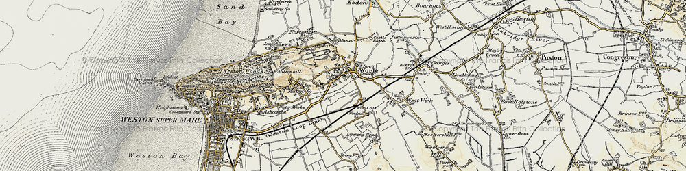 Old map of Worle in 1899-1900