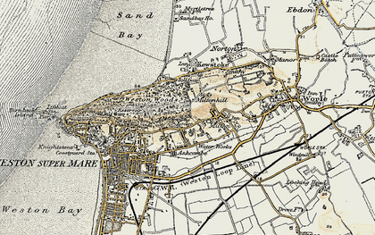 Old map of Worlebury in 1899-1900