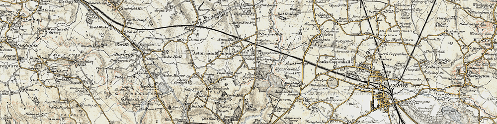 Old map of Worleston in 1902-1903