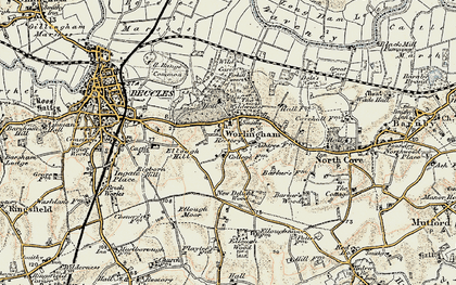 Old map of Worlingham in 1901-1902
