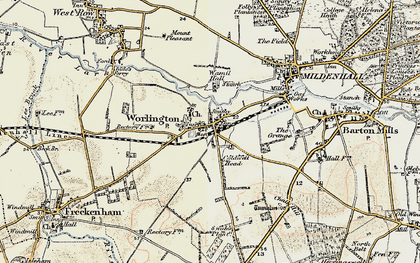 Old map of Worlington in 1901