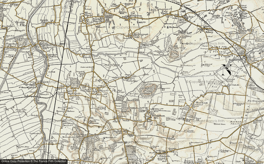 Old Map of Historic Map covering Ling Hills in 1901-1902