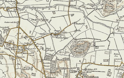 Old map of Wormegay in 1901-1902