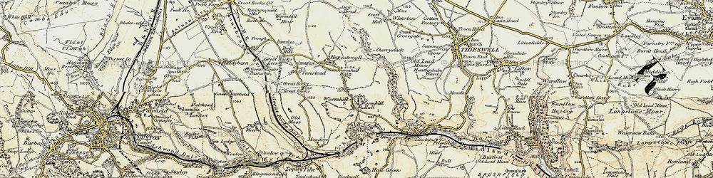 Old map of Wormhill in 1902-1903