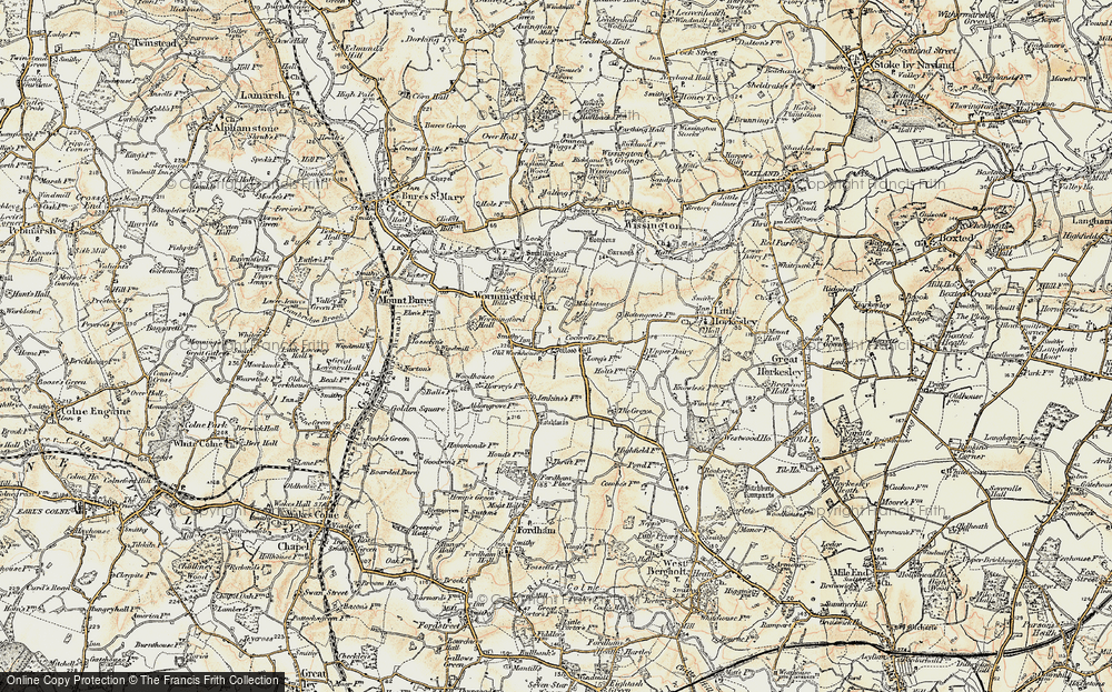 Old Map of Historic Map covering Wood Hall in 1898-1899