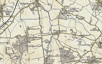Old map of Wormington in 1899-1901