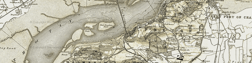 Old map of Wormit Bay in 1907-1908