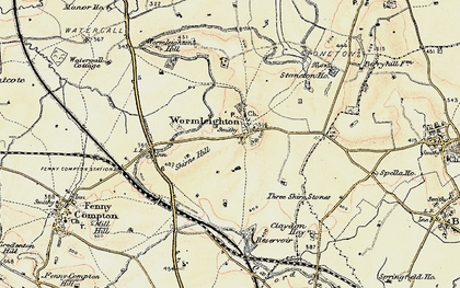 Old map of Wormleighton Village in 1898-1901