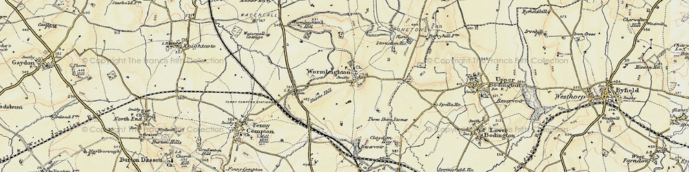 Old map of Wormleighton in 1898-1901
