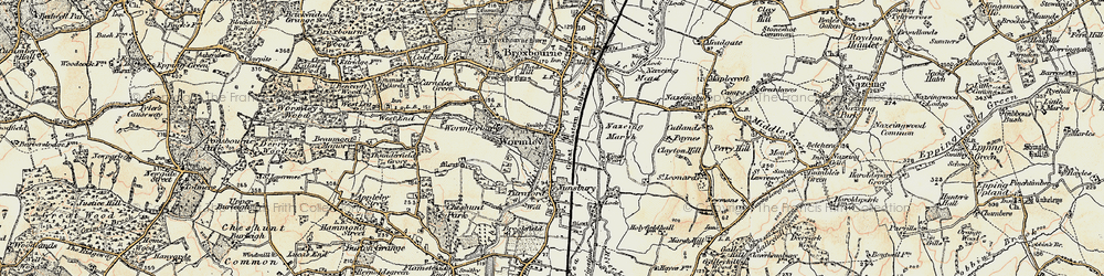 Old map of Wormleybury in 1897-1898