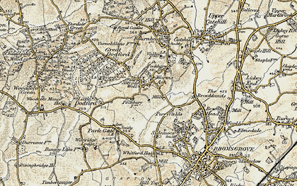 Old map of Worms Ash in 1901-1902