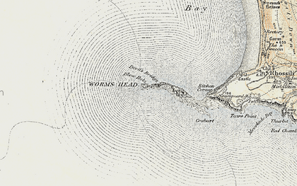 Old map of Worms Head in 1900-1901