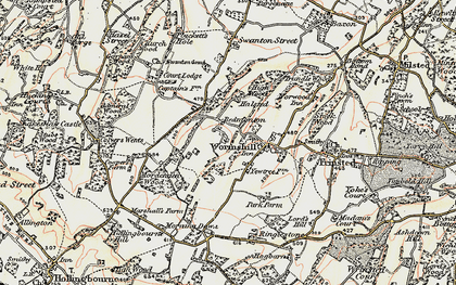 Old map of Wormshill in 1897-1898