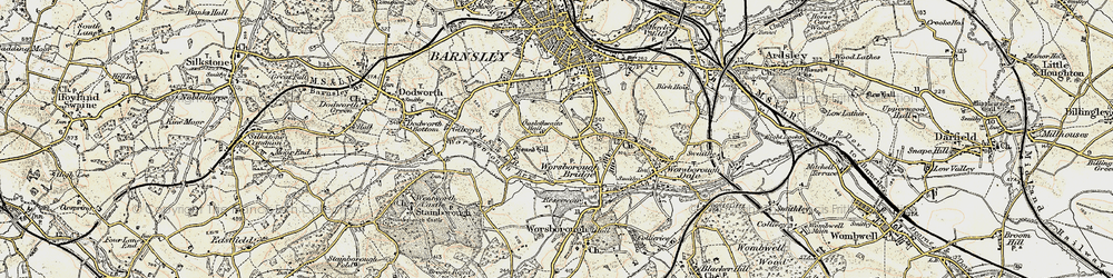 Old map of Worsbrough Common in 1903