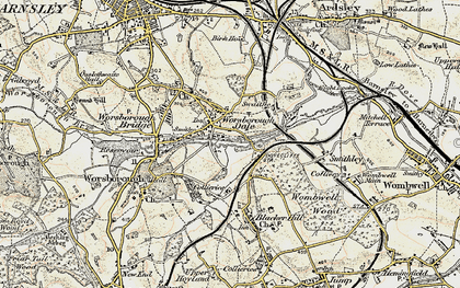 Old map of Worsbrough Dale in 1903