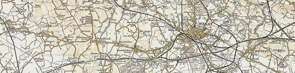 Old map of Worsley Hall in 1903